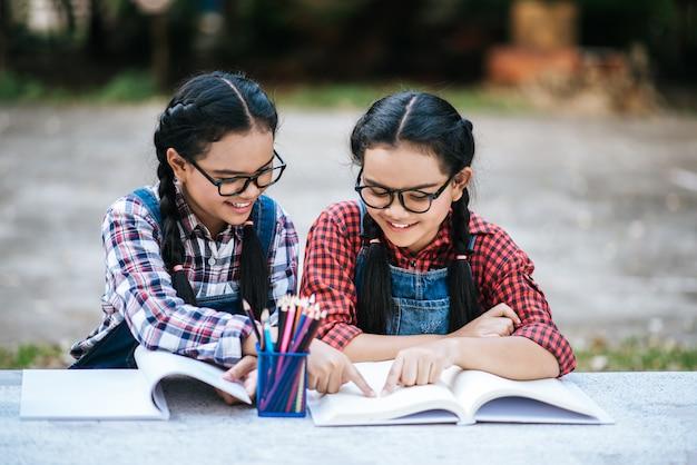 Dois, estudantes, estudar, junto, online, com, um, laptop, parque