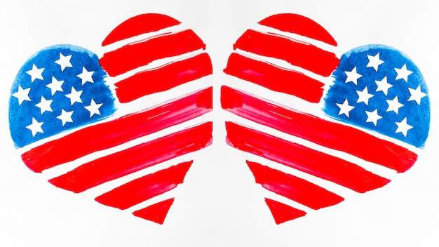 Dois, eua, bandeira, pintado, formas coração, branco, fundo