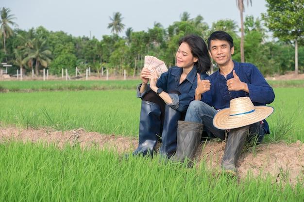 Dois fazendeiros asiáticos sentados relaxando com dinheiro das notas tailandesas em uma fazenda de arroz verde.