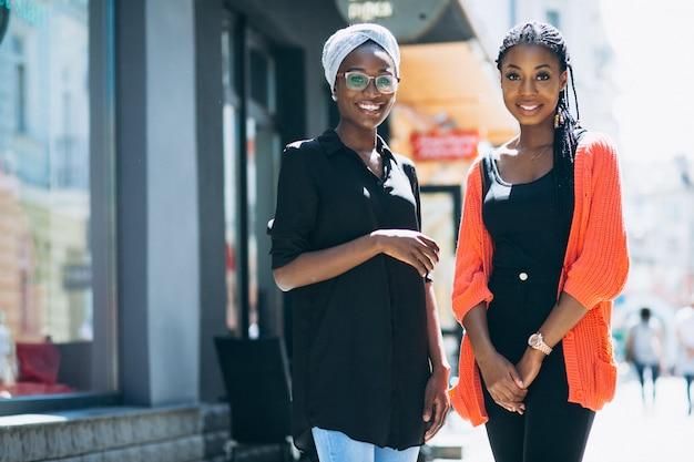Dois, fêmea americana africana, amigos