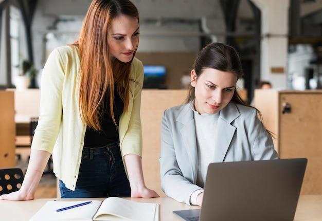 Dois, femininas, colegas, escritório, trabalhando, junto