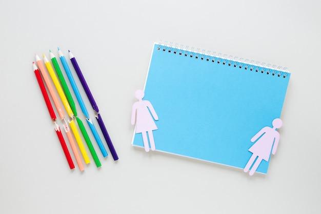 Dois, femininas, gênero, ícones, com, notepad