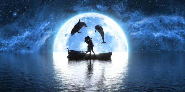 Dois golfinhos pulando sobre um barco beijando pessoas no fundo da lua, ilustração 3d