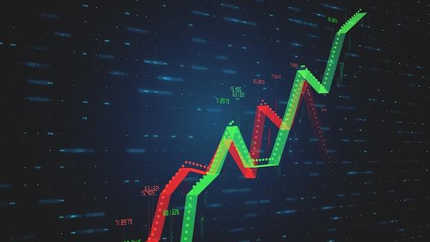 Dois gráficos de ilustração 3d lineares crescentes mostrando crescimento positivo e negativo e tendências com números em vermelho-verde sobre fundo azul tecnologia com movimento