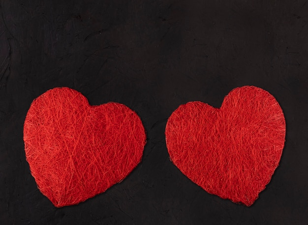Dois grandes corações. conceito de dia dos namorados