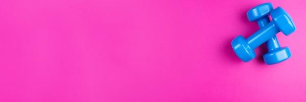 Dois halteres azuis em um fundo rosa, banner de fotos, vista superior, espaço para texto.