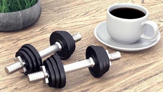Dois halteres e uma xícara de café. renderização em 3d.