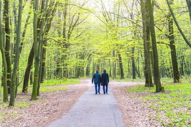 Dois homens caminhando no parque verde