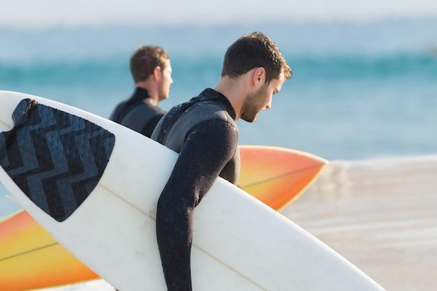 Dois homens, em, wetsuits, com, um, surfboard, ligado, um, dia ensolarado