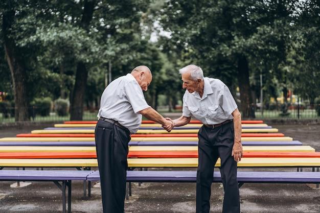 Dois homens idosos idosos têm uma conversa ao ar livre no parque da cidade.