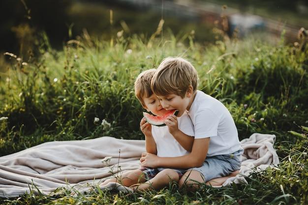 Dois irmãos mais novos se divertir deitado em um campo verde nos raios