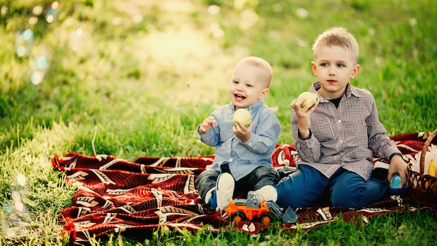 Dois irmãozinhos sentado e comendo maçã no parque.