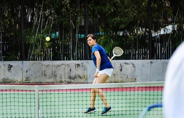 Dois jogadores, em, um, partida tênis