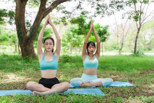Dois, jovem, atraente, atleta, mulher asian, prática, ioga, parque, natureza, ao ar livre, ligado, grama verde, em, a, manhã