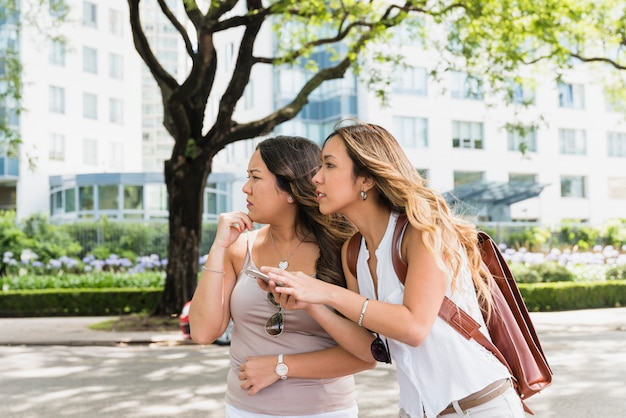 Dois, jovem, confuso, femininas, turista, ficar, parque