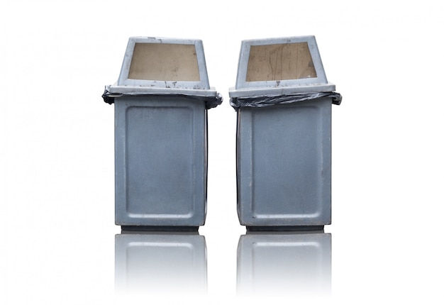 Dois, lata lixo, isolado, branco