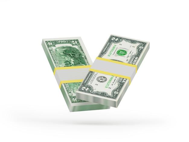 Dois maços de notas de dois dólares