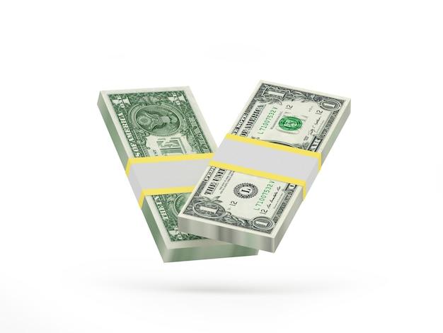 Dois maços de notas de um dólar
