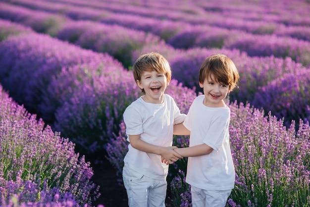 Dois meninos felizes em um campo de lavanda, dia ensolarado, vista lateral ao ar livre