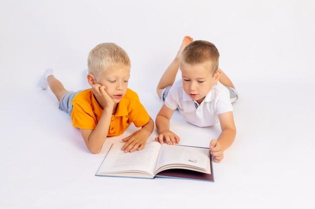 Dois meninos irmãos em idade pré-escolar mentem e lêem um livro