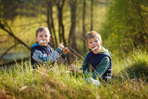 Dois meninos que guardam a vara e aprontam-se comendo marshmallows roasted.