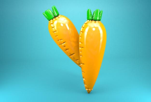 Dois modelos 3d de cenouras infláveis sobre fundo azul. conceito de produtos alimentares artificiais.