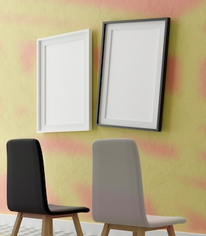 Dois moldura branca vertical simulada.