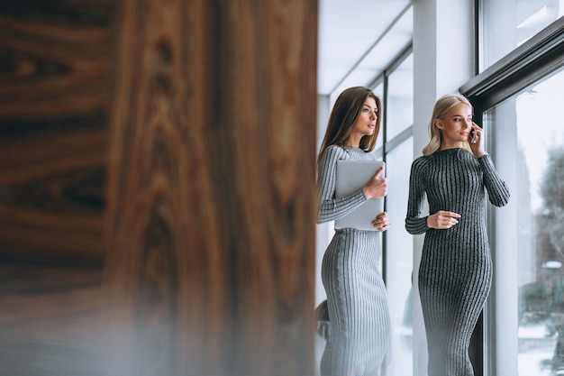Dois, mulher negócio, com, computador