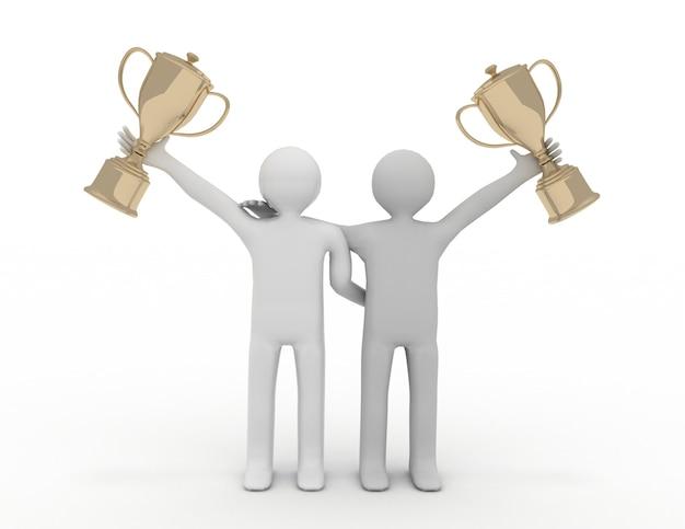Dois personagens 3d segurando o troféu de ouro - conceito de vitória de equipe. ilustração renderizada 3d