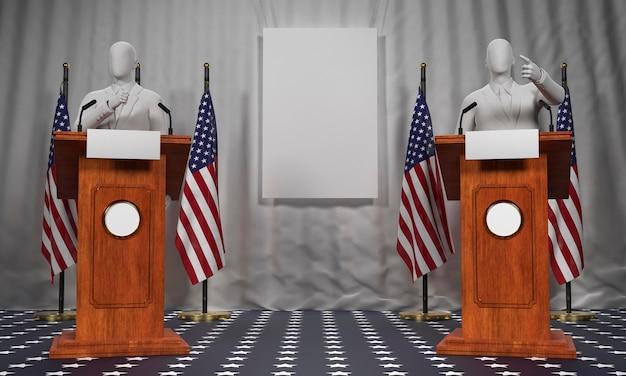 Dois pódios com bandeiras americanas e candidatos às eleições americanas