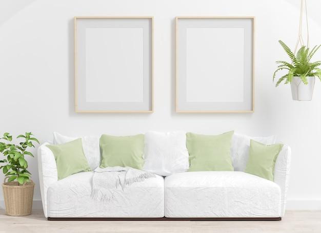 Dois quadros em uma maquete de sala de estar com plantas verdes renderização em 3d