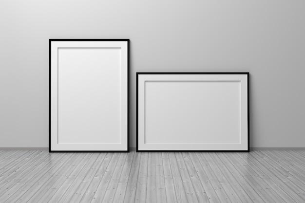 Dois quadros vazios em branco a4 verticais e horizontais em pé no chão de madeira na sala branca ilustração 3d