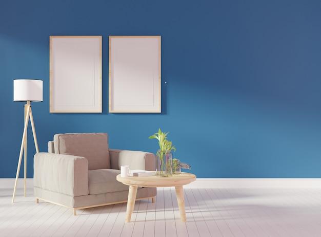 Dois quadros verticais na parede bege na sala de estar