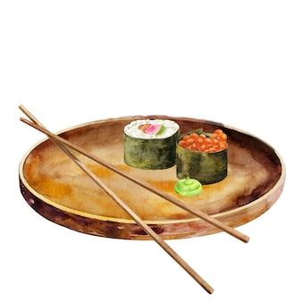 Dois rolos de sushi em prato redondo