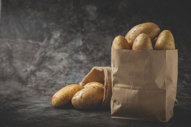 Dois sacos cheios de batatas no chão cinza