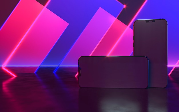 Dois smartphones com luz neon