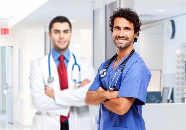Dois, sorrindo, macho, doutores