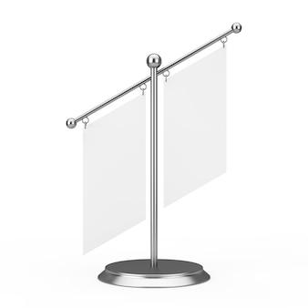 Dois tecido branco branco embandeira o modelo com espaço livre para seu projeto no suporte do pináculo de aço em um fundo branco. renderização 3d