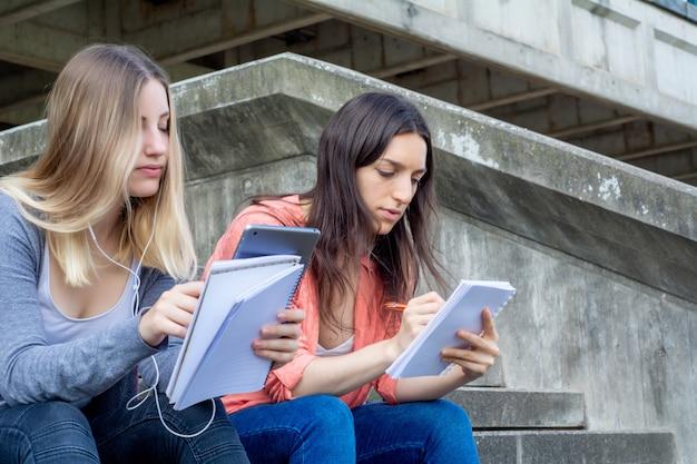 Dois, universidade, estudantes, estudar, junto, ao ar livre