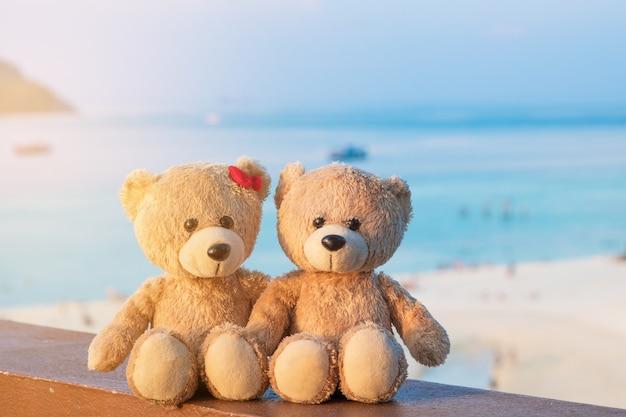 Dois ursos de peluche que sentam a opinião do mar. conceito de amor e relacionamento. bela praia de areia