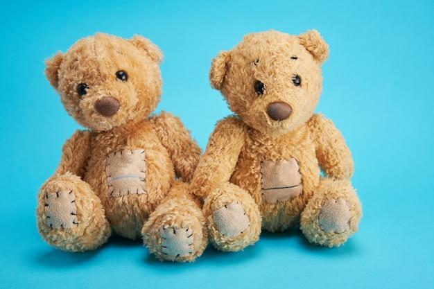 Dois ursos de pelúcia marrons estão sentados