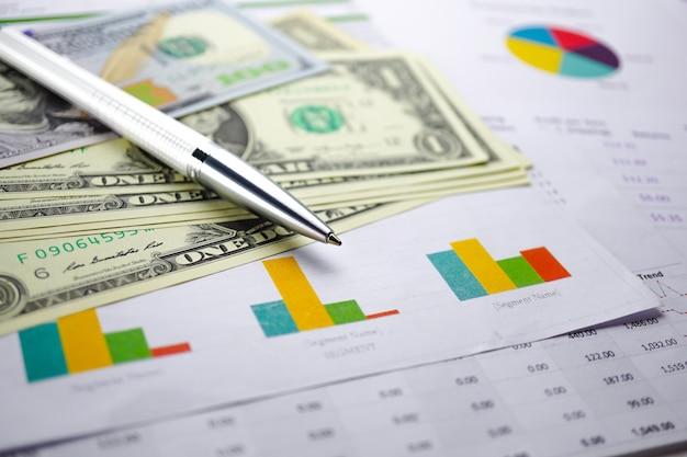 Dólar americano e dinheiro das cédulas do euro no papel de fundo do gráfico da carta.