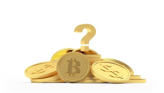 Dólar de ouro e moedas bitcoin com ponto de interrogação