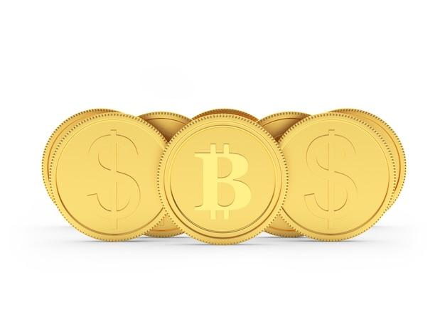 Dólar de ouro e moedas de bitcoin. 3d