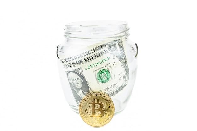 Dólar e bitcoin branco
