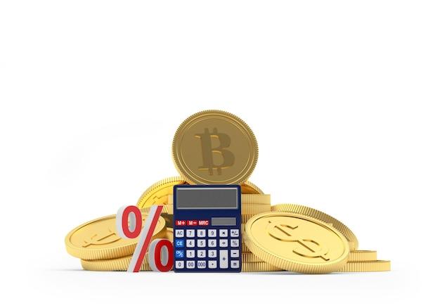 Dólar e bitcoin com calculadora e sinal de porcentagem