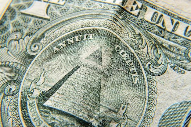 Dolar eua close-up. textura macro de um fragmento da nota de dólar. textura de notas de dólar.