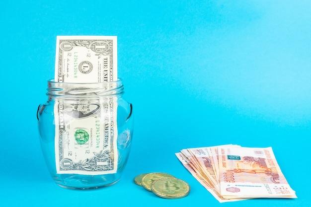 Dólar, rublos e bitcoin