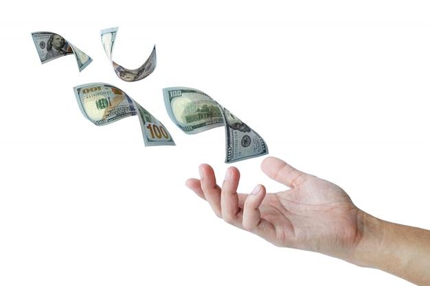 Dólar voando a mão para pagar e obter dinheiro em dólar com negócios de pagamento eletrônico e compras on-line. negócios e conceito de investimento on-line.