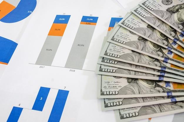 Dólares com gráficos e tabelas financeiras Foto Premium